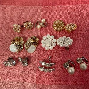 Lot of 8 Vintage Clip Earrings Rhinestones Pearls